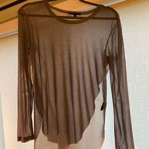Lucca Couture Sheer Gray Slit Top
